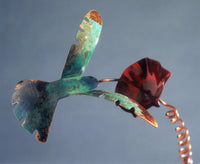 Humming Bird On Flower Copper Sculpture by Haw Creek Forge