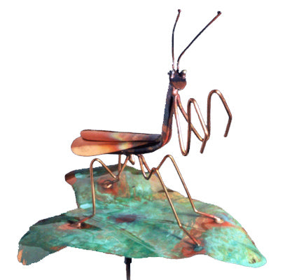 Praying Mantis On Leaf Copper Sculpture by Haw Creek Forge