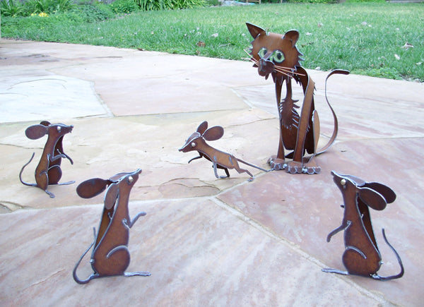 Stretching Cat With Four Mice (set of five)