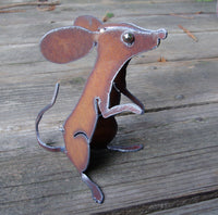 Mouse Sitting, Metal Garden Art Mice Sculpture by Henry Dupere