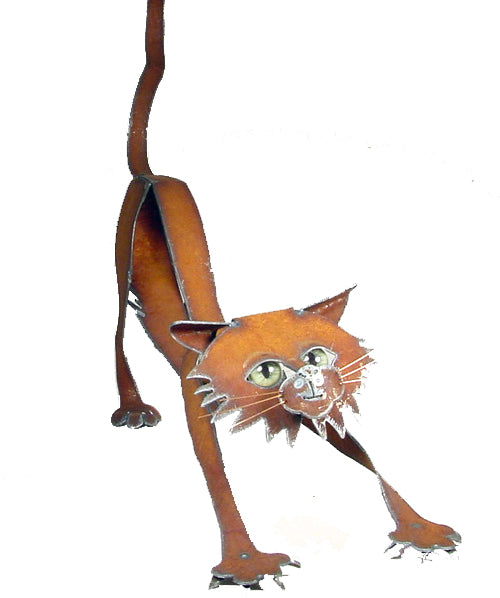 Stretching Cat - Metal Sculpture by Henry Dupere