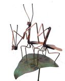 Honeymoon Praying Mantis Copper Sculpture by Haw Creek Forge