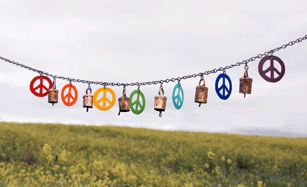 PEACE SIGN -  GARDEN FLAG & BELLS - BY ARTIST JENDALA