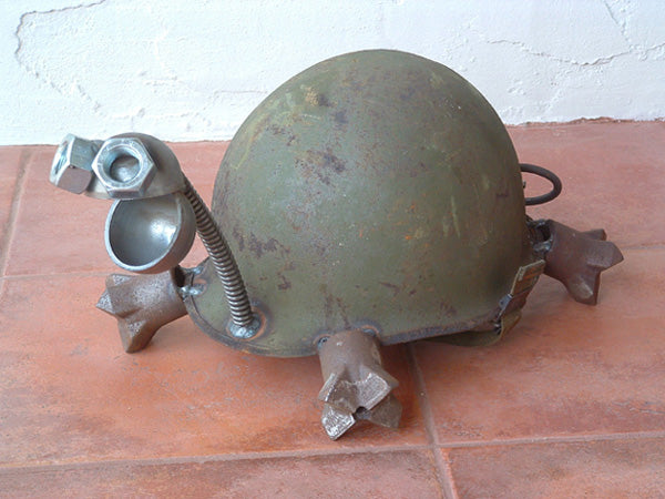 Turtle Sculpture Army Helmet by Artist Fred Conlon of Sugarpost