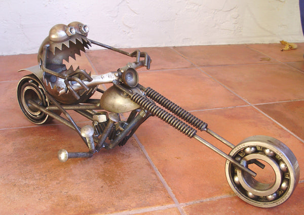 Chopper Motorcycle Gnome Be Gone, Garden Sculpture by Artist Fred Conlon of Sugarpost