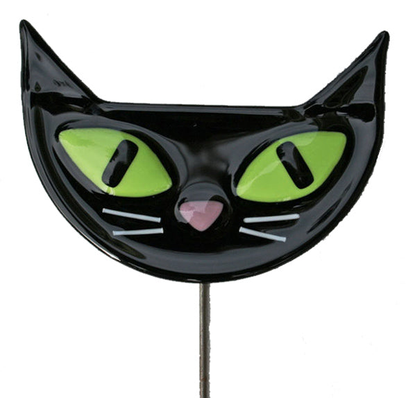 Black Cat Face - Fused Glass Plant Stake
