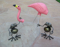 Flamingo Away - Double -  Garden Art by Artist Fred Conlon of Sugarpost