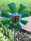 Flower Aqua/Lemong - Fused Glass Plant Stake by Glass Works Northwest