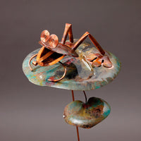 Frog On Lilly Pad - Copper Sculpture by Haw Creek Forge