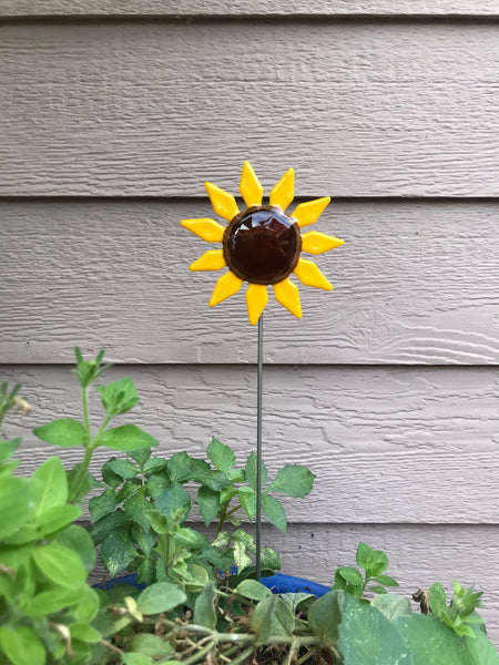Sun Flower - Fused Glass Plant Stake by Glass Works Northwest