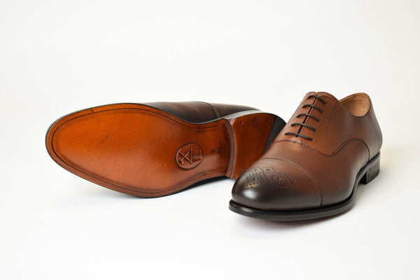 Brown burnished oxford shoes