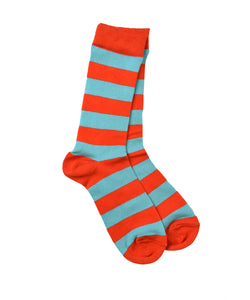 Red/Cornflower Stripe Socks