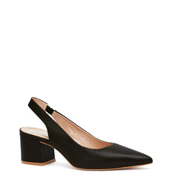 Kathryn Wilson women's leather slingback heel in a black colourway on a white background.