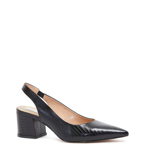 Kathryn Wilson women's snake embossed leather slingback heel in a black colourway on a white background.
