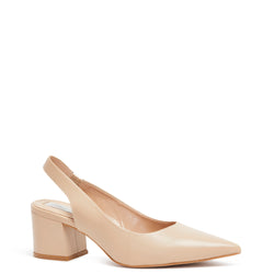 Kathryn Wilson women's leather slingback heel in a nude colourway on a white background.
