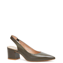 Kathryn Wilson women's leather slingback heel in a olive colourway on a white background.