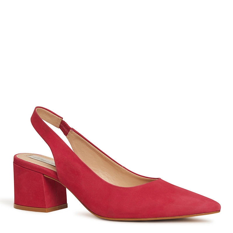 Kathryn Wilson women's nubuck slingback heel in a cherry colourway on a white background.