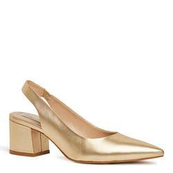 Kathryn Wilson women's leather slingback heel Gold calf colourway on white background.