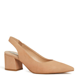 Kathryn Wilson women's nubuck slingback heel in a nude colourway on a white background.
