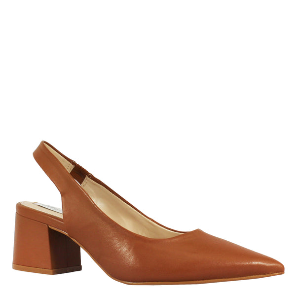 Kathryn Wilson women's leather slingback heel in a dark tan colourway on a white background.
