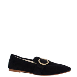 Kathryn Wilson women's suede loafer  in a black colourway on a white background.