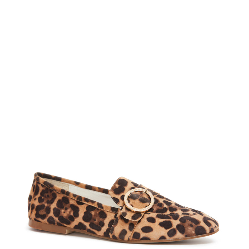 Kathryn Wilson women's suede loafer  in a cheetah  colourway on a white background.