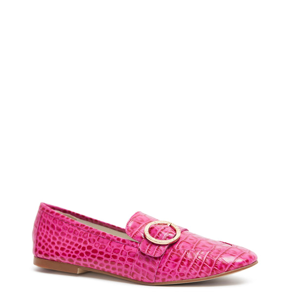 Kathryn Wilson women's croc embossed leather loafer in a hot pink colourway on a white background.