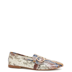 Kathryn Wilson women's python embossed leather loafer  in a python colourway on a white background.