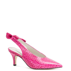 Kathryn Wilson women's croc embossed leather slingback heel in a hot pink colourway on a white background.