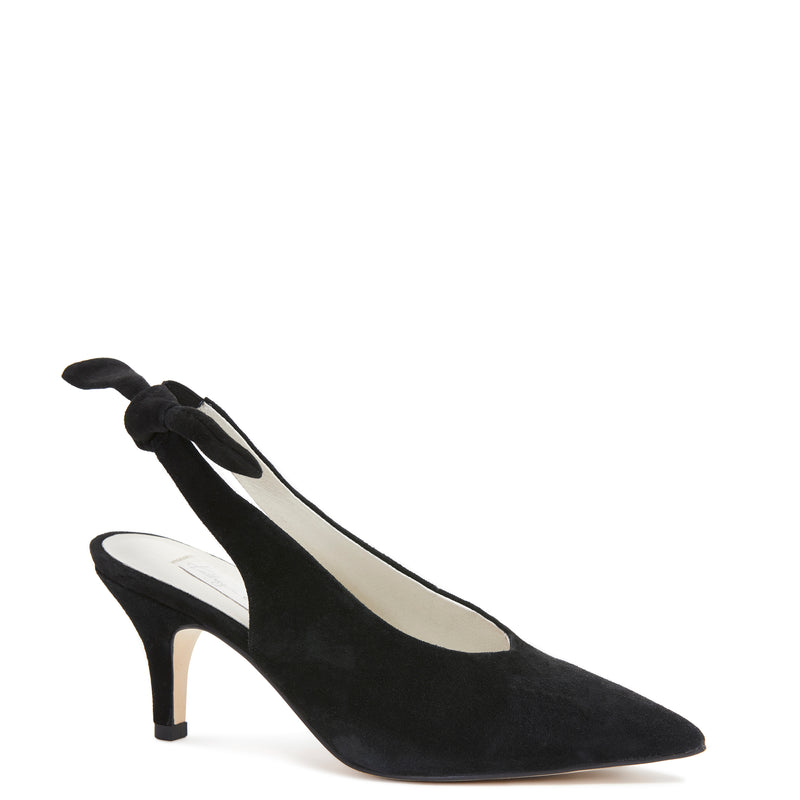 Kathryn Wilson women's suede slingback heel in a black colourway on a white background.