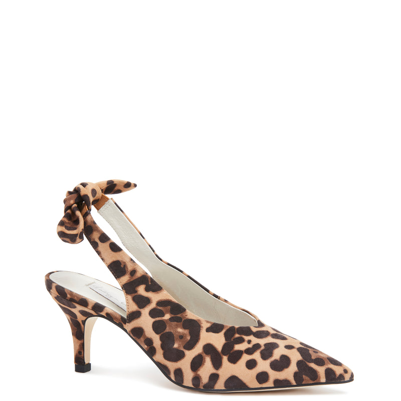Kathryn Wilson women's suede  slingback heel in a cheetah colourway on a white background.