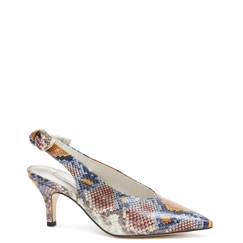 Kathryn Wilson women's python embossed leather slingback heel in a python colourway on a white background.
