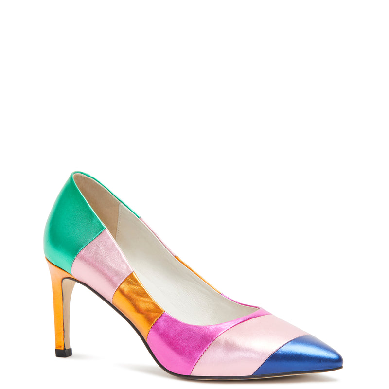 Kathryn Wilson women's multi-coloured leather heel on a white background.