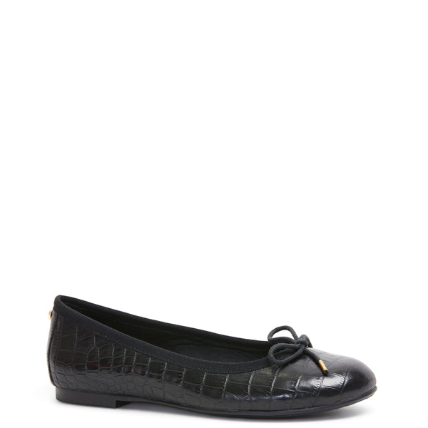 Kathryn Wilson women's croc embossed leather ballet flat in a black colourway on a white background.