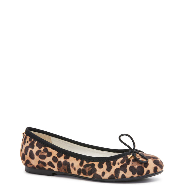 Kathryn Wilson women's suede ballet flat in a cheetah colourway on a white background.