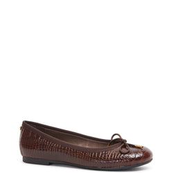 Kathryn Wilson women's croc embossed leather ballet flat in a choc colourway on a white background.