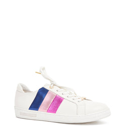 Kathryn Wilson women's white leather trainer with a 3 stripe panel of blue, light pink and purple  on a white background.