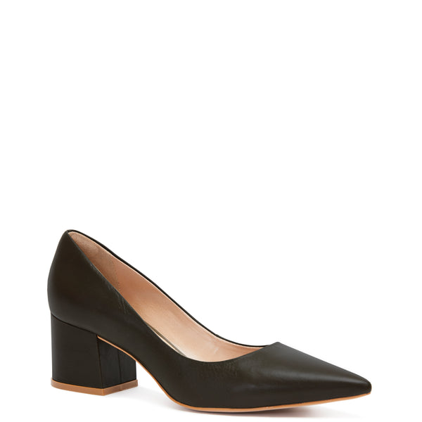 Kathryn Wilson women's leather heel in a black colourway on a white background.