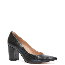 Kathryn Wilson women's croc embossed leather heel in a black colourway on a white background.