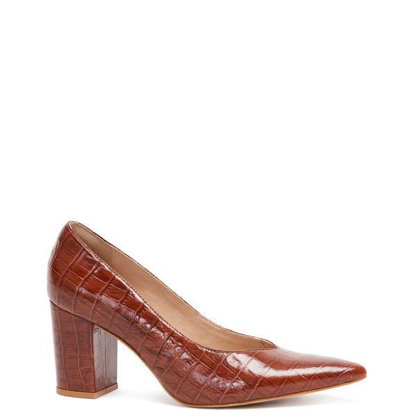 Kathryn Wilson women's croc embossed leather heel in a choc colourway on a white background.