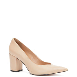 Kathryn Wilson women's leather heel in a nude colourway on a white background.