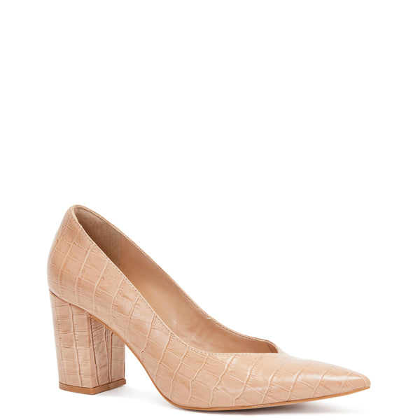 Kathryn Wilson women's croc embossed leather heel in a nude colourway on a white background.