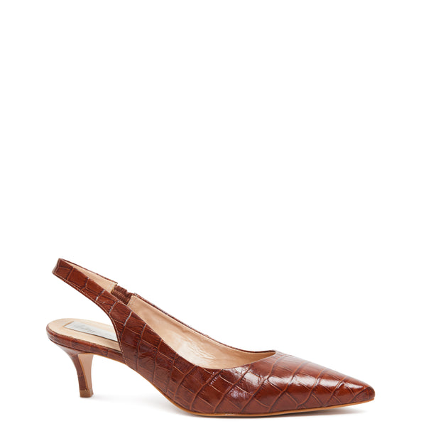 Kathryn Wilson women's sling back heel heel choc colourway with croc embossed leather on white background.