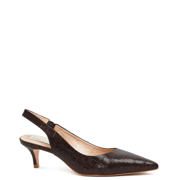 Kathryn Wilson women's sling back heel heel black colourway with croc embossed leather on white background.