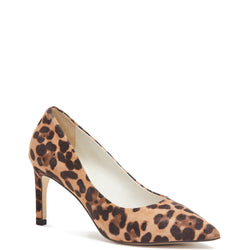 Kathryn Wilson women's suede heel in a cheetah colourway on a white background.