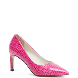 Kathryn Wilson women's python embossed leather heel in a pink colourway on a white background.