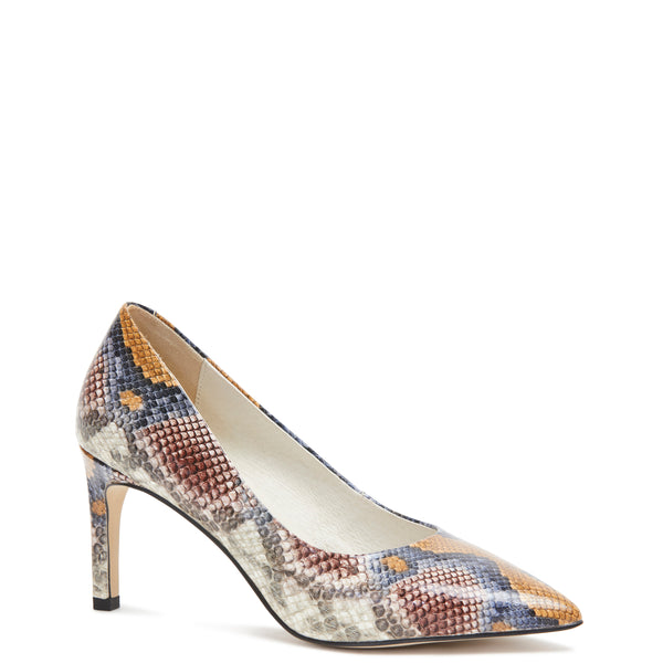 Kathryn Wilson women's python embossed leather heel in a python colourway on a white background.