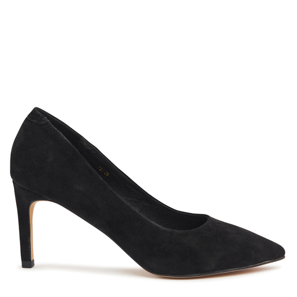 Kathryn Wilson women's suede heel in a black colourway on a white background.