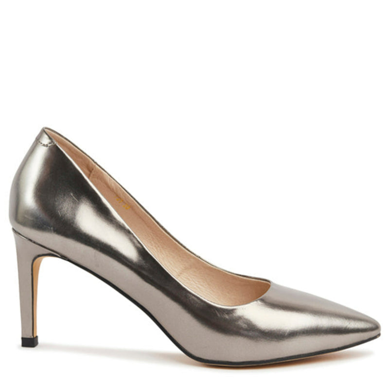 Kathryn Wilson women's leather heel in a pewter colourway on a white background.
