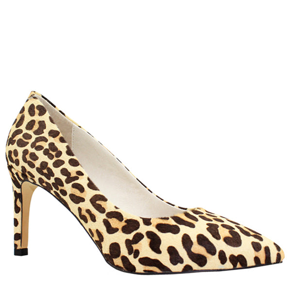 Kathryn Wilson women's leopard calf hair heel on a white background.